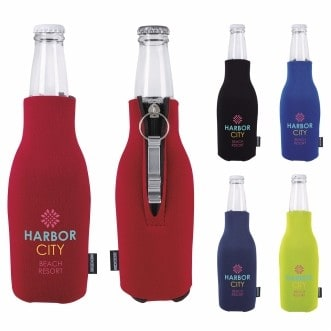 KOOZIE® Zip-Up Bottle Kooler w/Opener (Heat Transfer)